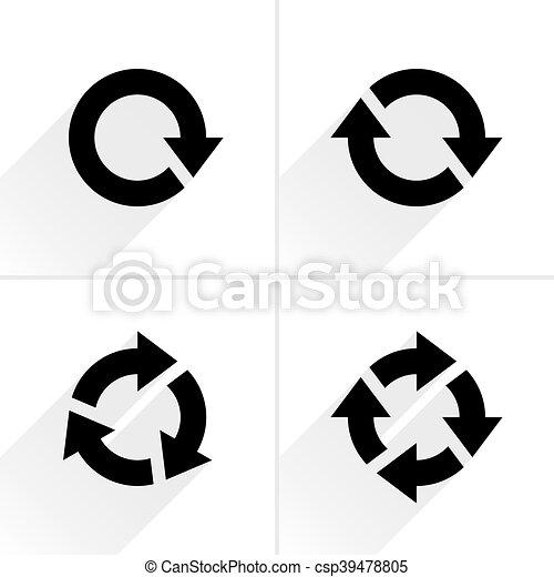 Black arrow loop, refresh, reload, rotation icon - csp39478805
