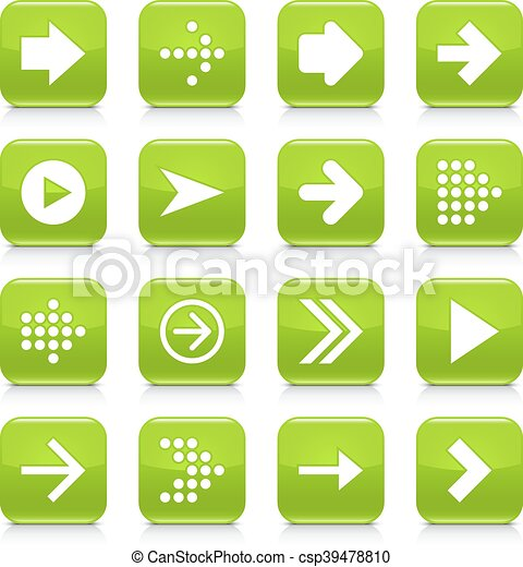 Green arrow sign rounded square icon web button - csp39478810