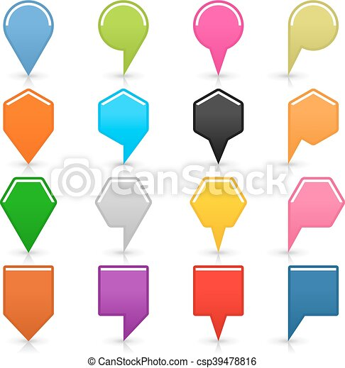 Color map pin icon with shadow on white background - csp39478816