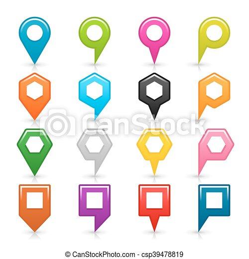 Flat set map pin icon - csp39478819