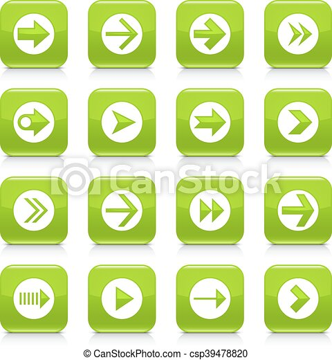 Green arrow sign rounded square icon web button - csp39478820