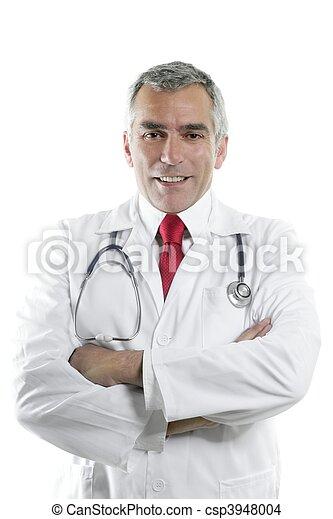 doctor senior expertise gray hair on white - csp3948004