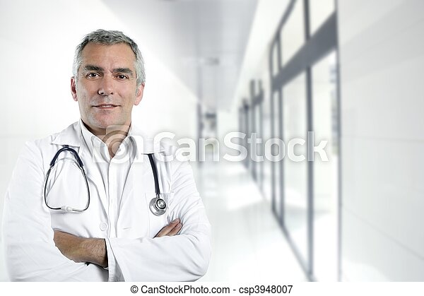 gray hair expertise senior doctor hospital portrait - csp3948007