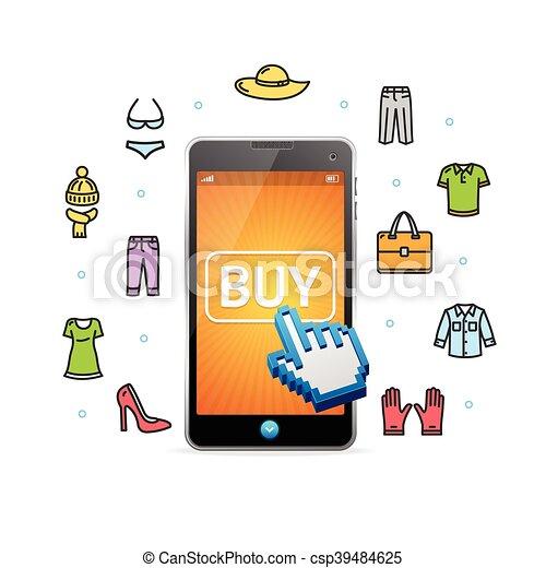 Ilustraciones de vectores de compras m vil app vector for Compra online mobili