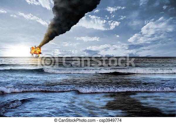 Oil platform explosion - csp3949774