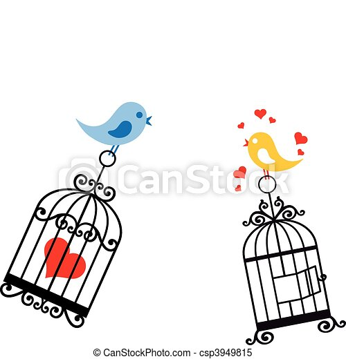 birds in love with birdcage - csp3949815