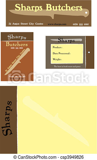 Branding concept for a meat market or butcher shop - csp3949826