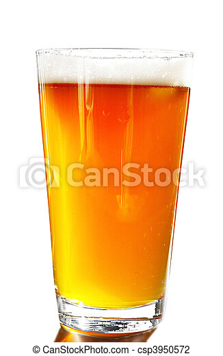 Full pint of amber beer with head, on white background - csp3950572