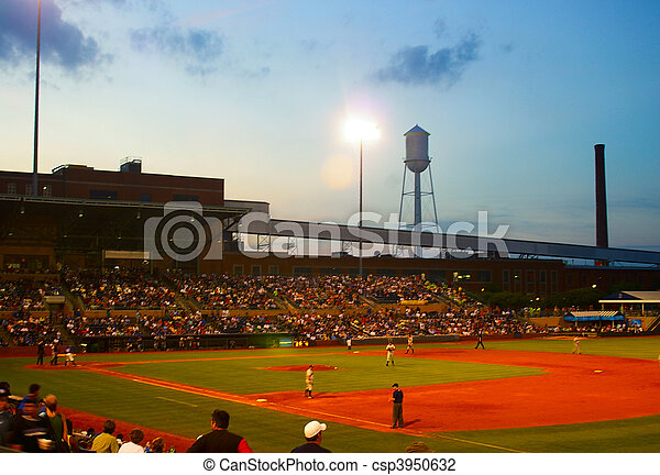 outdoor summer baseball game at dusk - csp3950632