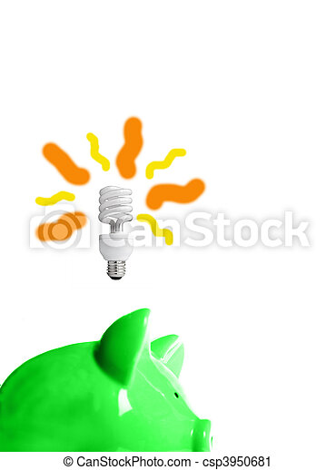 green piggy bank with energy-efficient light-bulb above (smart energy) - csp3950681