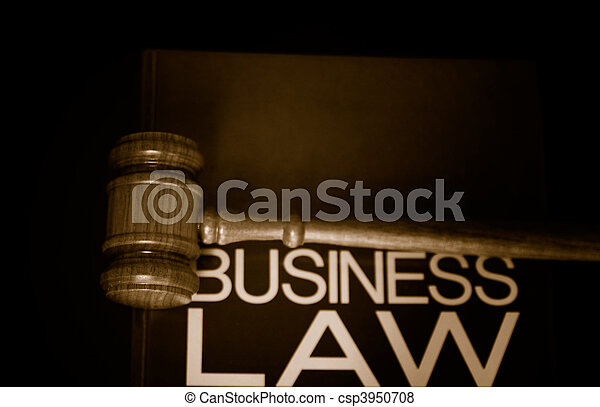 judges gavel on a business law book - csp3950708
