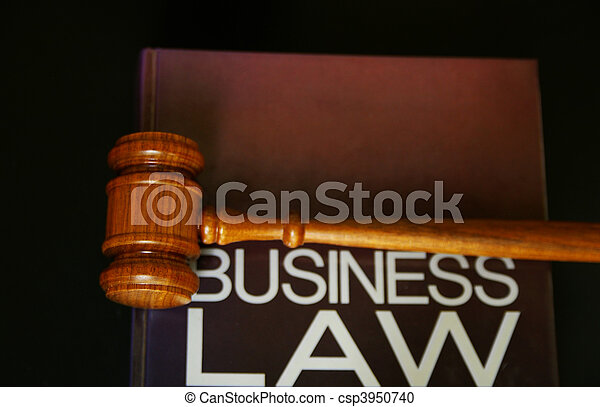 judges gavel on a business law book - csp3950740