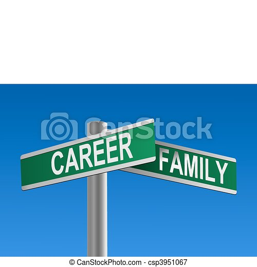 Career and Family Crossroads Vector - csp3951067