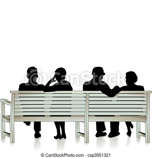 Vector Clip Art of senior citizen and park bench csp3951321 - Search ...