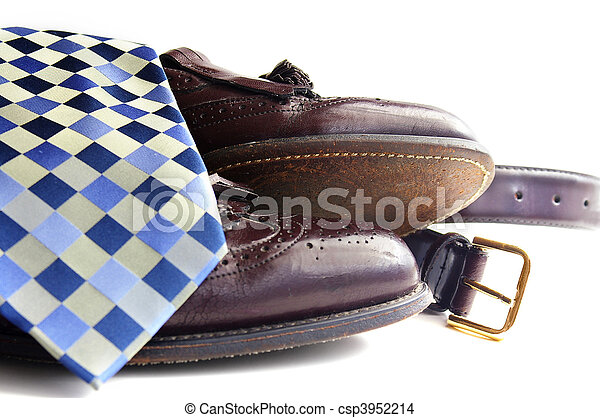 Business attire: Tie, shoes and belt - csp3952214