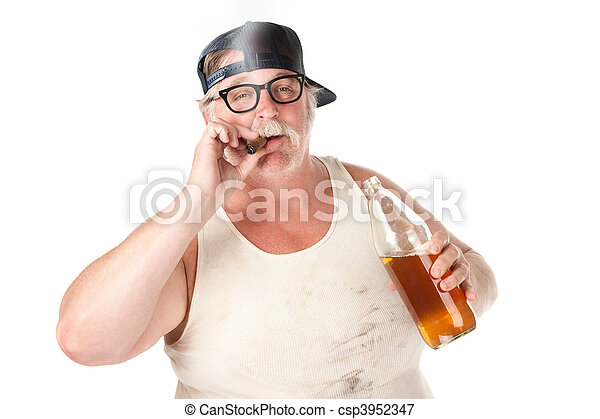 Picture of Smoking and drinking - Fat man with smoking a cigar and ...