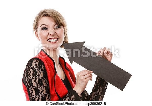 完美, 婦女, 她, 顯示, 牙醫, smile. - csp39536215