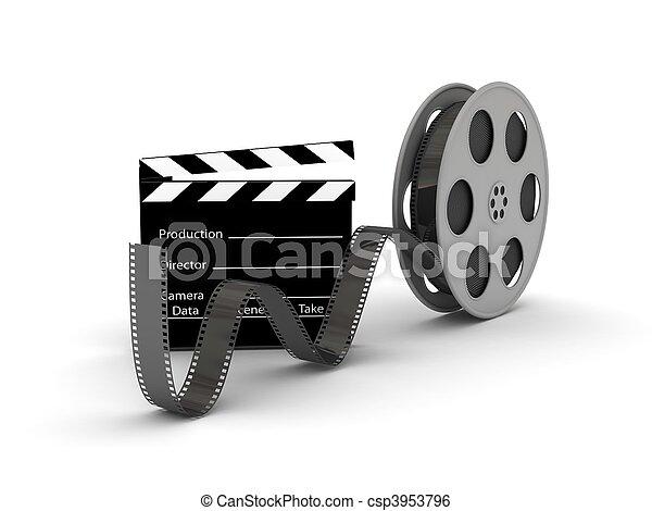 Film Slate with Movie Film Reel - csp3953796