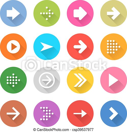 Arrow sign web icon set flat style - csp39537977