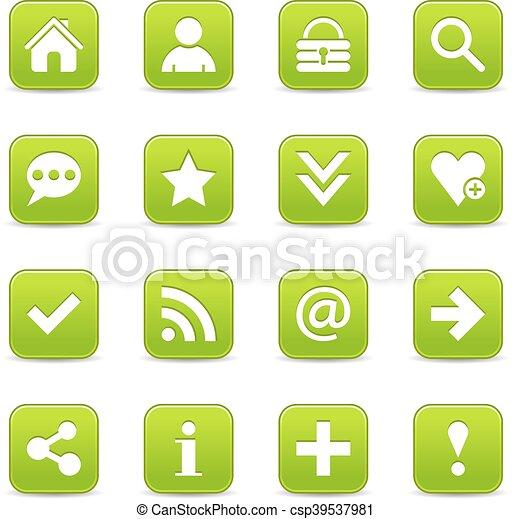 Green satin icon web button with white basic sign - csp39537981