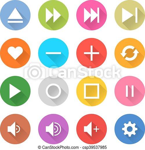 Flat media sign web internet buton - csp39537985