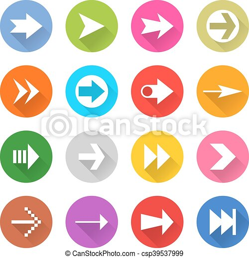 Arrow sign web icon set flat style - csp39537999
