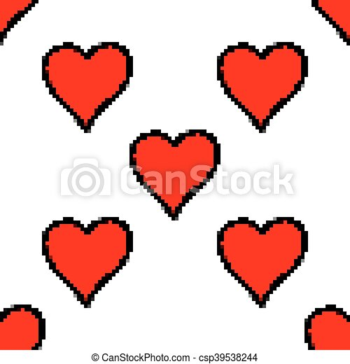 Seamless pattern with red heart sign - csp39538244