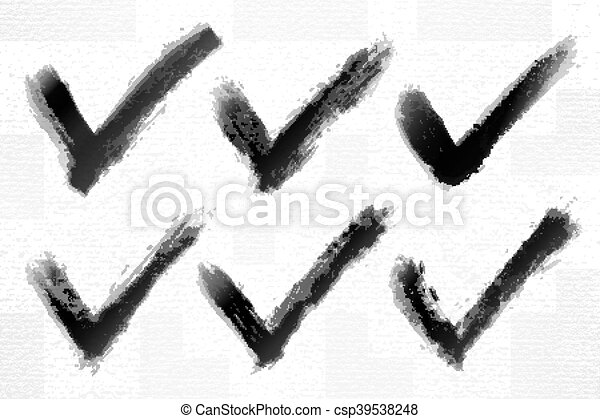 Check mark ink sketch on watercolor paper - csp39538248
