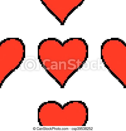 Seamless pattern with red heart sign - csp39538252
