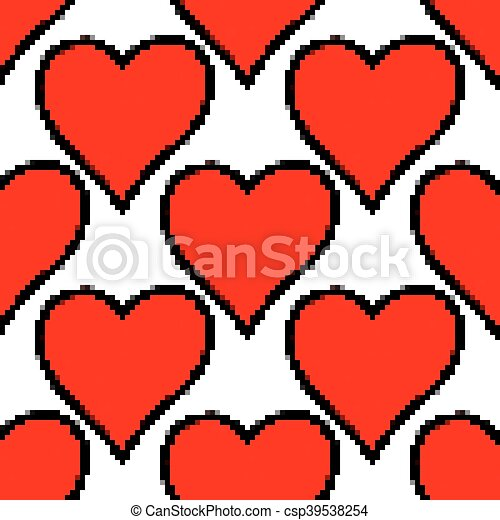 Seamless pattern with red heart sign - csp39538254