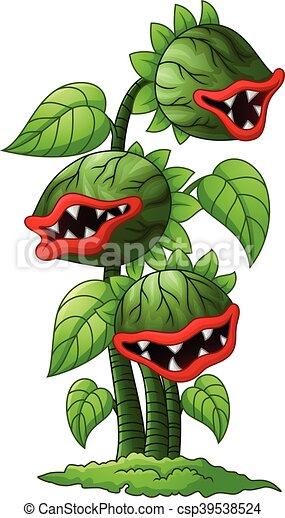 Illustration Vecteur de plante, carnivore, dessin animé ...