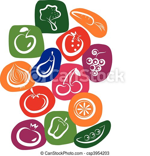 white vegetable and fruit icons on colorful background - csp3954203