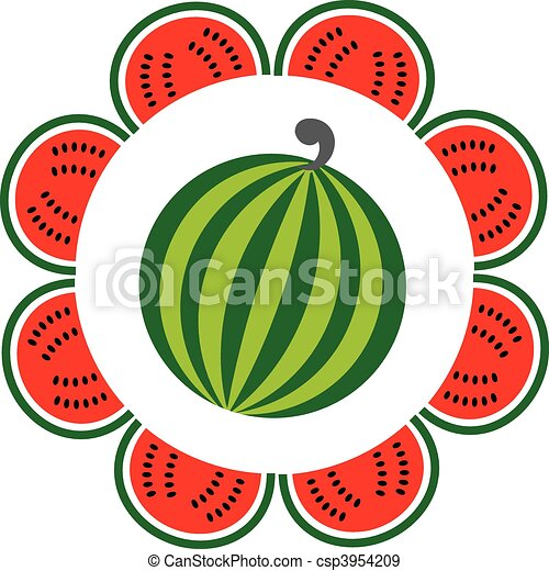 whole and sliced watermelon arranged like a flower - csp3954209