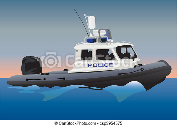 Clipart Vector of Police boat - Police coast guard motor boat on water ...