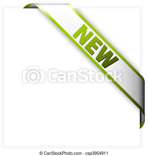 New white corner ribbon with green border - csp3954911