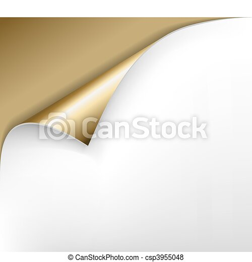 golden paper with a curl - csp3955048
