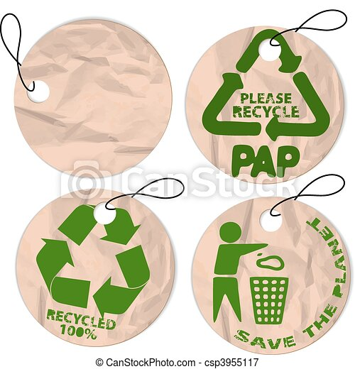 grunge paper tags for recycling - csp3955117