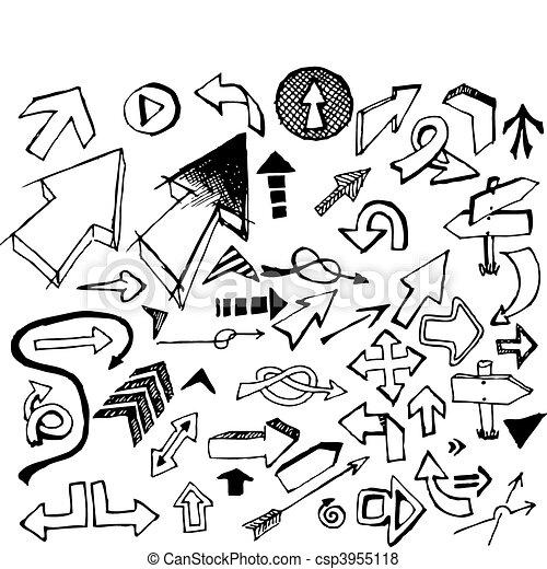 Big set of various black doodle arrows - csp3955118