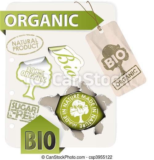 Set of bio, eco, organic elements - csp3955122