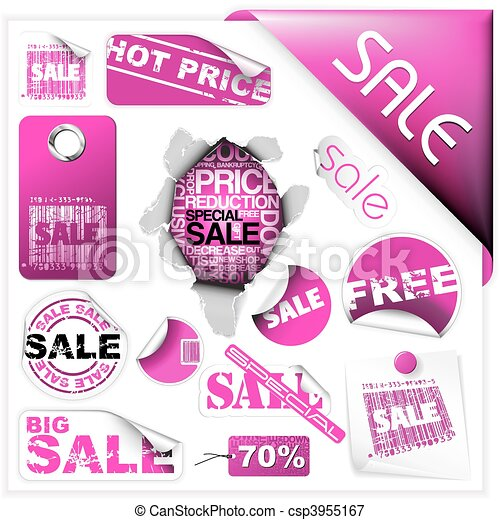 Set of pink sale tickets and labels - csp3955167