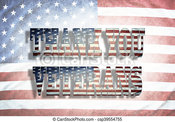 Thank you Veterans wording on American flag
