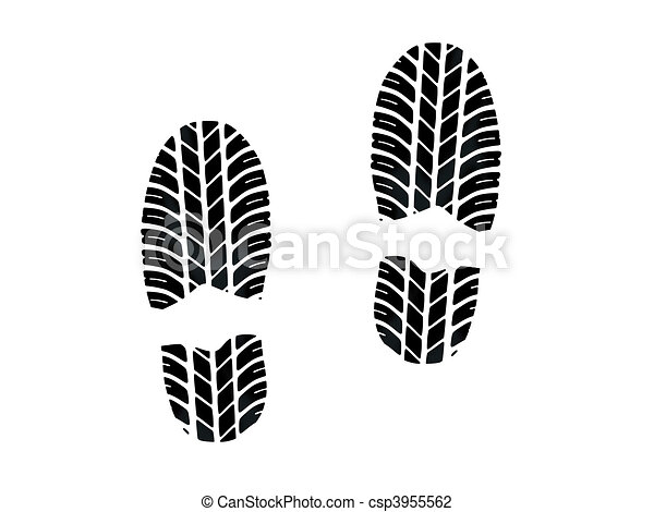 Footprint with tires tread - csp3955562