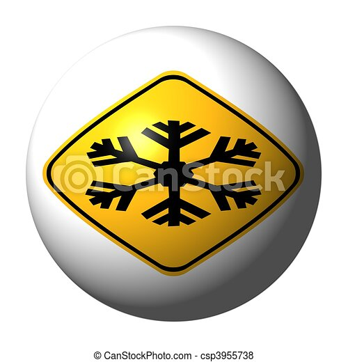 sphere with danger extreme cold sign on exterior illustration - csp3955738