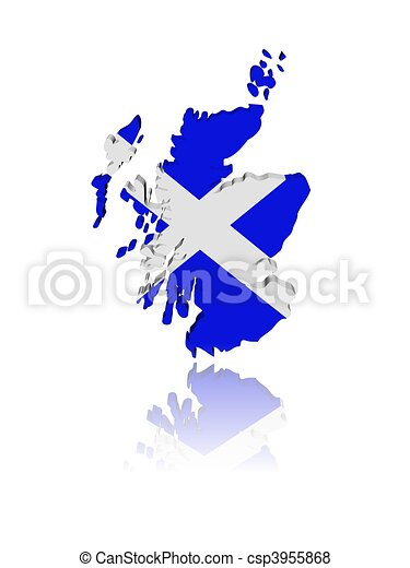 Scotland map flag 3d render with reflection illustration - csp3955868