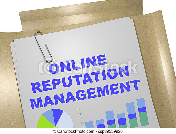 3D illustration of \'ONLINE REPUTATION MANAGEMENT\' title on business document