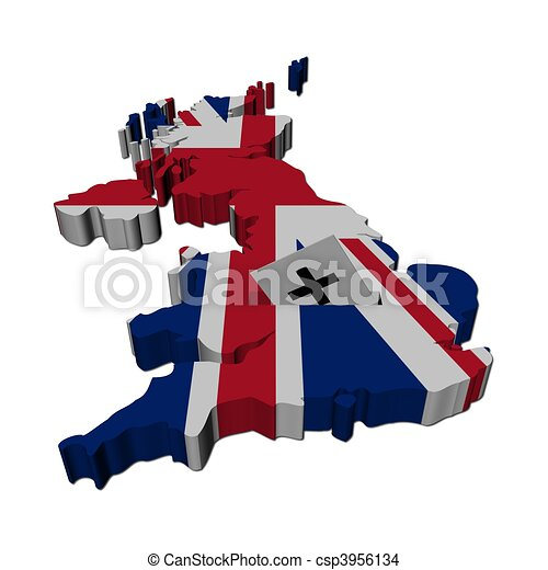 Drawing of British election map of uk with ballot paper ...