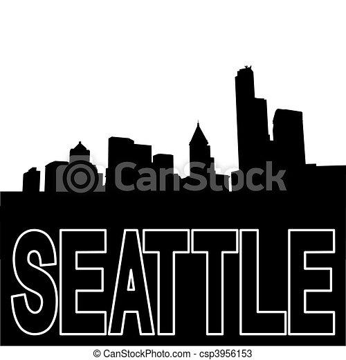 Seattle Skyline Drawing Seattle Skyline Black