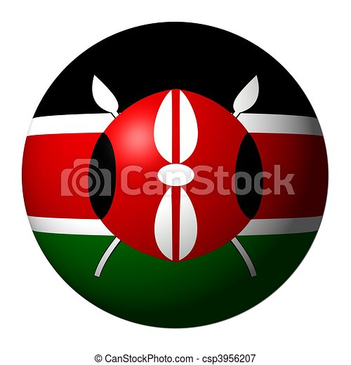 Kenyan flag sphere isolated on white illustration - csp3956207