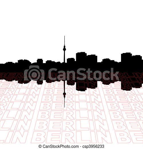 Berlín, contorno, perspectiva, texto, contorno, primer plano - csp3956233