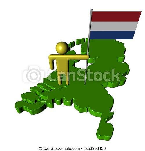 abstract person with Dutch flag on map illustration - csp3956456
